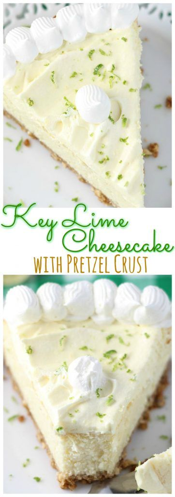 A creamy and rich key lime cheesecake with a salty and buttery pretzel crust and whipped topping!
