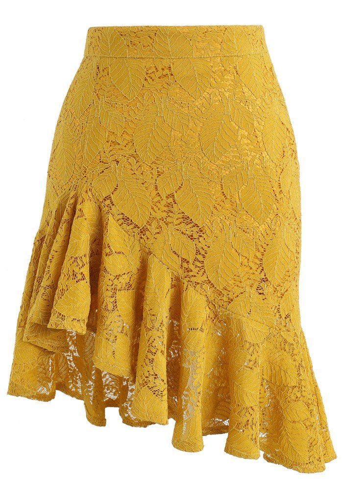 Paradisiacal Asymmetric Frill Hem Lace Skirt in Mustard- New Arrivals - Retro, Indie and Unique Fashion