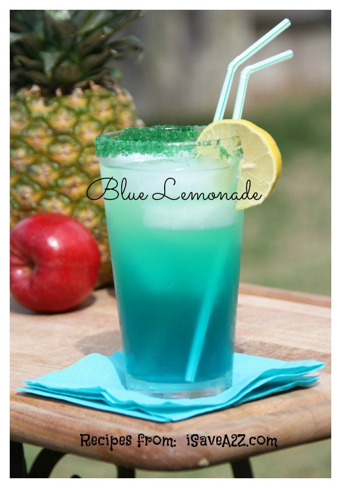 Homemade Blue Lemonade: lemonade recipes here.   Ingredients:  - 1/2 cup white sugar  - 1/2 cup water  - 1/2 cup or blackberries and 1/2 cup of blueberries  - 3 cups cold water  - 1/2 cup fresh lemon juice  - 6 cups of ice cubes Prep Time: 5 minutes Yield: 6 cups