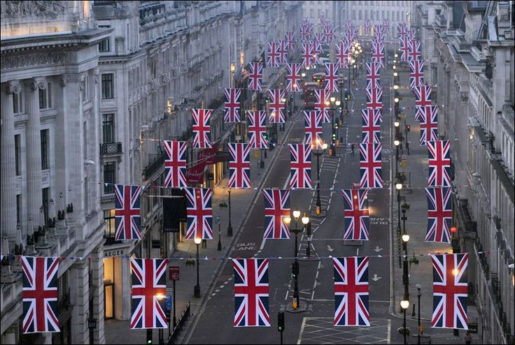 England....Flags, The Queens, London, British, Royal Weddings, Places, Queens Elizabeth, Regent Street, Union Jack