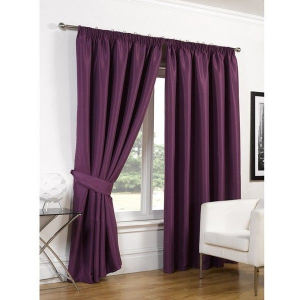 Dreamscene Faux Silk Blackout Curtains - Aubergine (94 AUD) ❤ liked on Polyvore featuring home, home decor, window treatments, curtains, purple, purple curtains, blackout window treatments, faux silk draperies, aubergine curtains and faux silk curtains