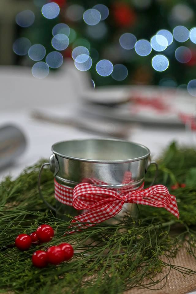 Pine scented Christmas candles wrapped in red Gingham made by Ma's Candles
