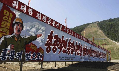 Propaganda posters at the base of a ski slope at Masik Pass: there are only about 5,500 North Korean skiers in a country of 24 million.  Pho...
