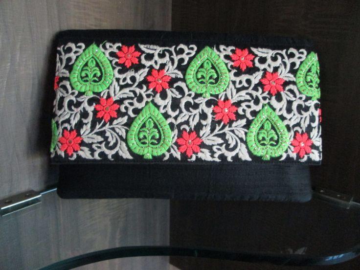 #neon #raw #silk #hand #embroidered #black #handy #indo #western