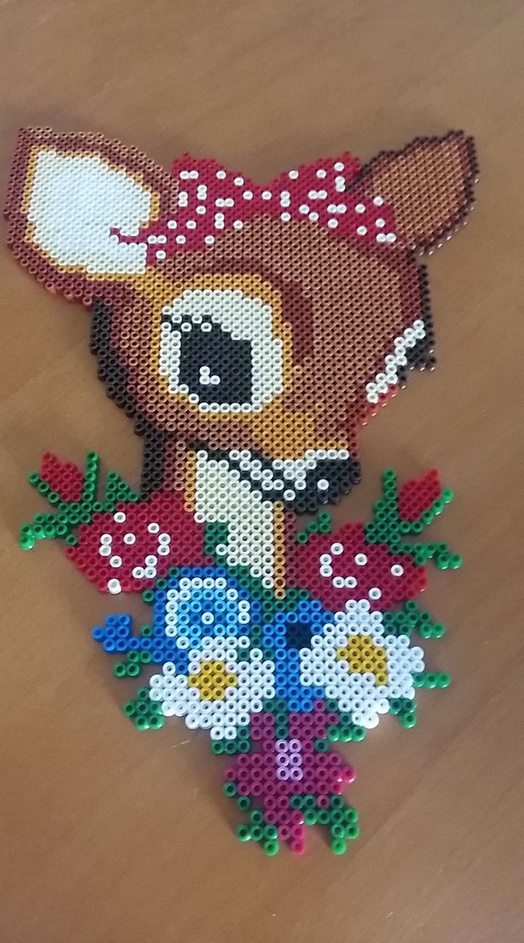 Deer & flowers -- perler beads