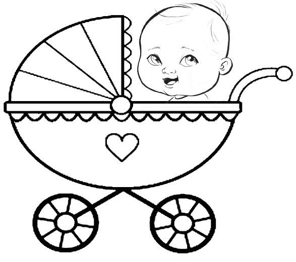 Fantastic Baby Carriage Coloring Sheet For Children