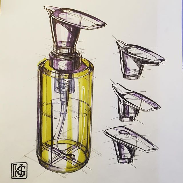 Marker rendering is used in this illustration to communicate the objects perception through denser shading at the edges of the bottle compared to the white centre, creating a curving impression.
