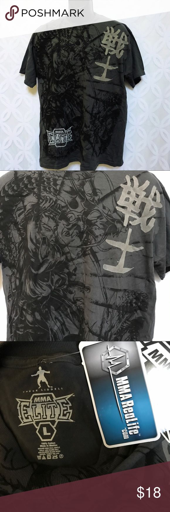 """Chuck Liddell MMA Fighter Elite Samurai Warrior Chuck Liddell MMA Fighter Elite Samurai Warrior Tee NWT.        Measurements Laying Flat Size L Armpit to Armpit 22"""" Shoulder to Hem 30"""" Bundle to Save  Sorry NO outside transactions  NO trades  Reasonable Offers welcomed  NO Low balling  NO modeling  NO Holds All items from a pet and Smoke Free Home  Happy Poshing  MMA Elite Shirts Tees - Short Sleeve"""