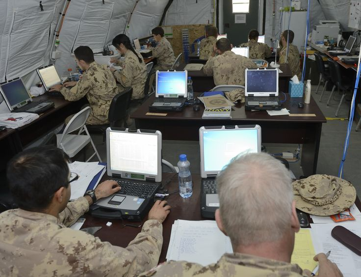 Kuwait. 6 November 2014 – Canadian Armed Forces Resource Management Support (RMS) Clerks conduct daily business at the Air Task Force Headquarters in Kuwait during Operation IMPACT. (Photo IS2014-7532-10 by Canadian Forces Combat Camera, DND)