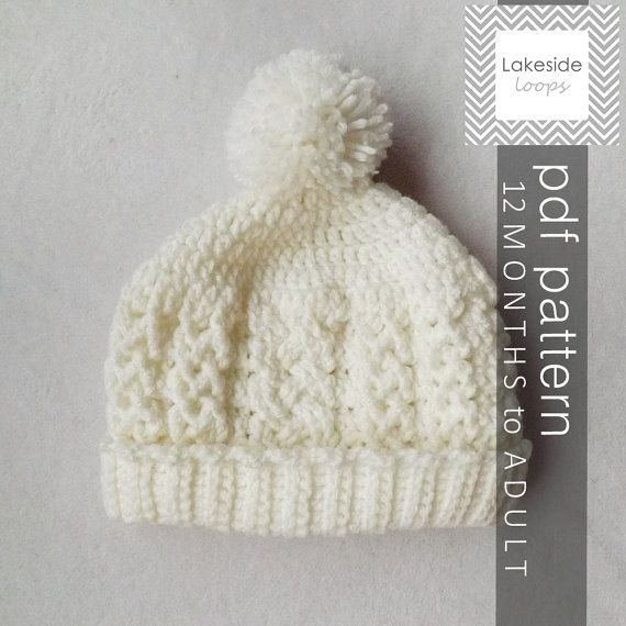 Instant Download The Carter Cable Crochet Hat by LakesideLoops
