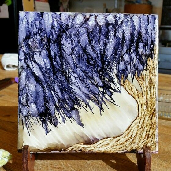 Tree in alcohol ink on 6x6 tile by Tina using canned air technique for tree leaves.