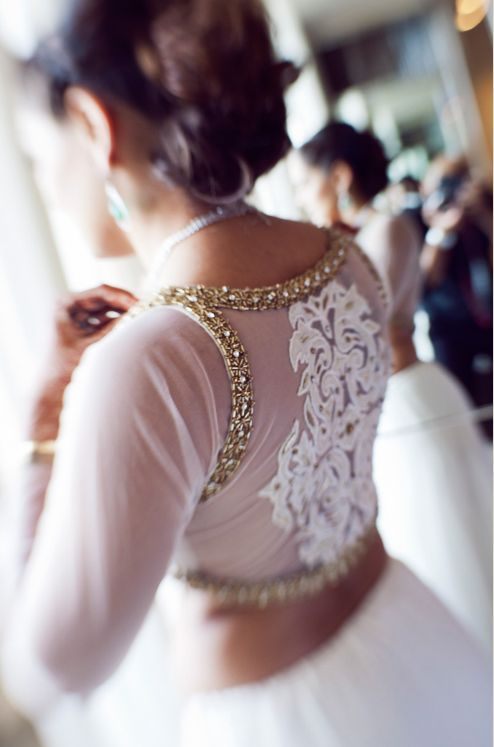 Bride In A White #Lehenga With #Blouse Back Embroidery.