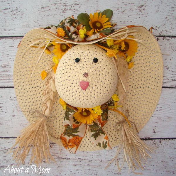 Straw Hat Scarecrow Fall Wreath
