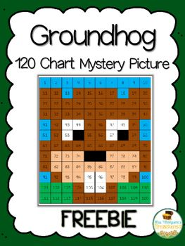 "Groundhog Day Freebie  Hey friends! I want to share with you my newest mystery picture perfect for Groundhog Day! This cute little guy is created when students use the key to color in numbers on a 120 chart. It's a great activity to start a discussion about groundhogs and what the day is about. You can also pair it with a writing activity such as ""Do you think the groundhog will see his shadow today?"" Or ""Would you rather have an early spring or six more weeks of winter?""    Get this free…"