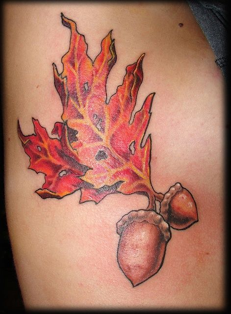 black oak leaf tattoo pinterest