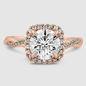 14 Karat Roségold Petite Twisted Vine Halo-Diamantring (1/4 ct. Tw.)