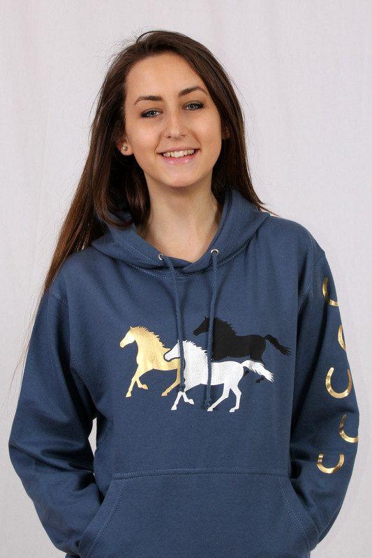 Horse Hoodie  Galloping Horses Sweatshirt by HorseShirts on Etsy