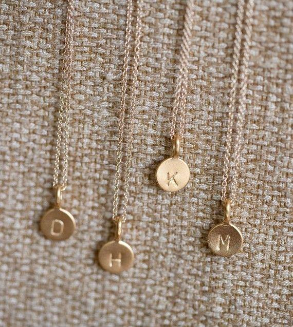14k Gold Vermeil Tiny Initial Necklace