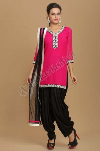 Latest online collection from the house of Andaaz. Georgette kameez lined with poly crepe. Neckline, daman & sleeves with embroidered borders. Shantoon patiala salwar. Net dupatta with borders. More Details Visit @ http://www.andaazfashion.com.my/eid-collection-2014/patiala-suit-collection.html