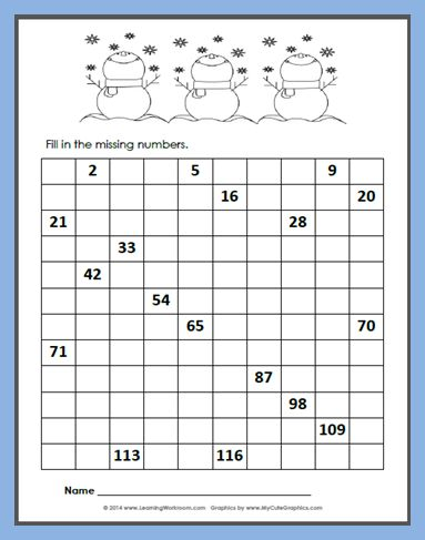 Free Winter 120 Number Chart Fill-in
