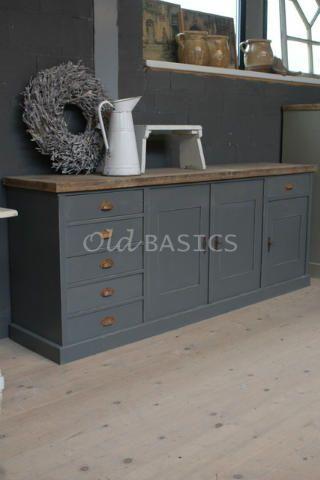 Dressoir Rustique 10081. Iets lichtere kleur grijs in cominatie met naturel blad