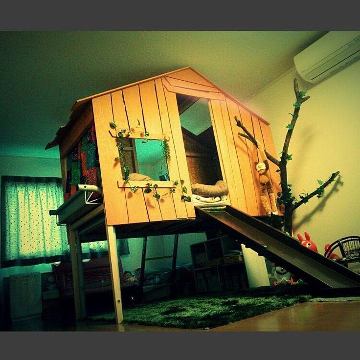 コンパネ/子供部屋/旦那はMAAA(笑)/ベッド周り/Before/海外のこども部屋に憧れて♡…などのインテリア実例 - 2015-09-26 17:44:32   RoomClip(ルームクリップ)