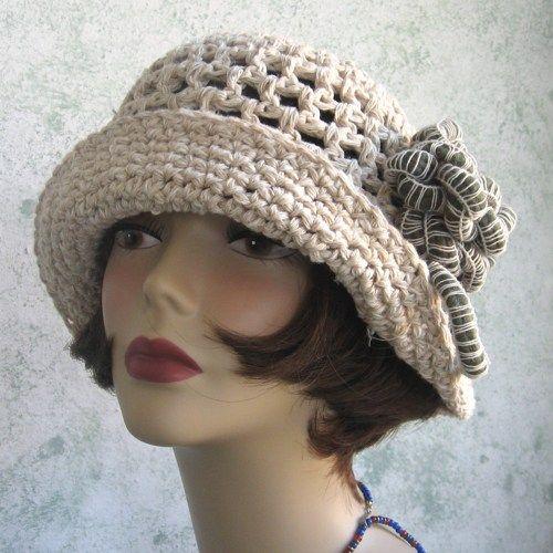 ladies crochet hat with crochet flowers   Womens Crochet Brimmed Summer Hat Pattern With Flower Trim PDF