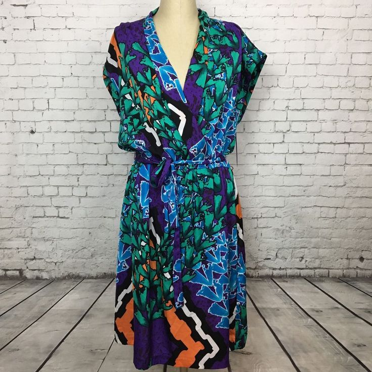 Peter Nygard Size 14 Women's Dress Sunset Purple Tropic Print V-Neck NEW $99 #PeterNygard #VNeck