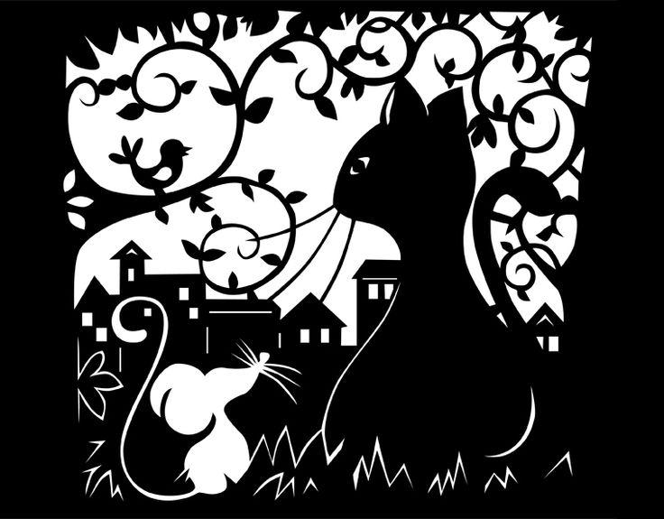 Katz und Maus - papercut - Scherenschnitt mit M... von paperandcut auf DaWanda.com