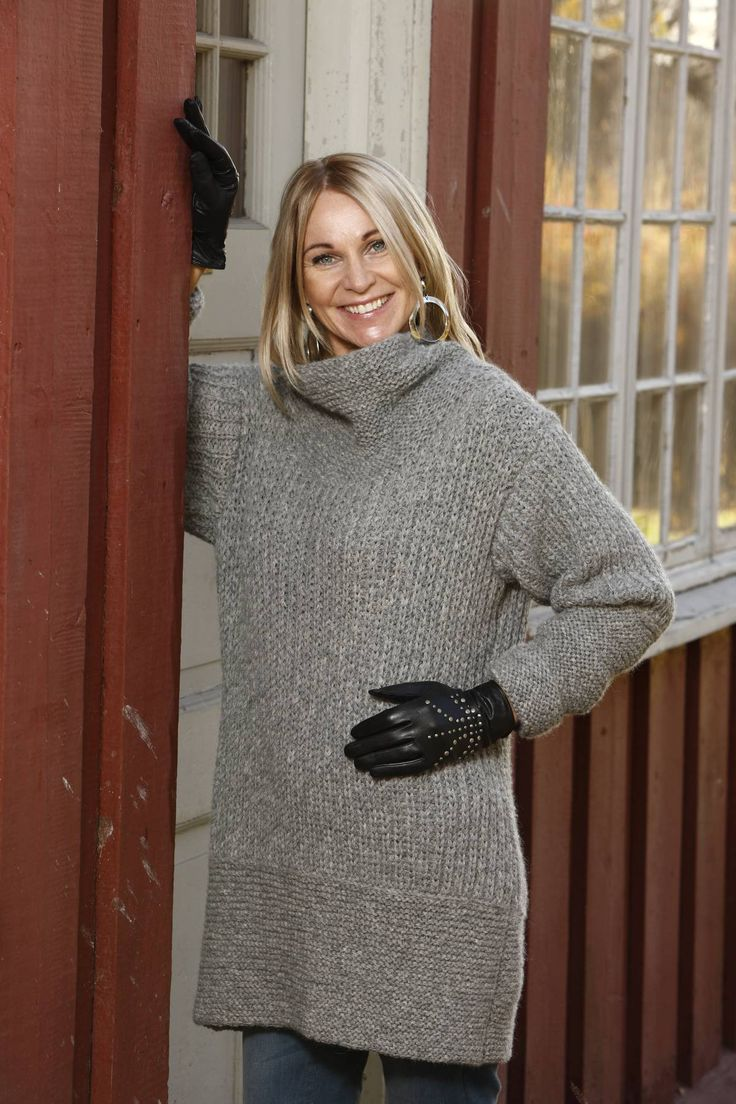 Sweater with garter stitch and fisherman´s rib knitted in Hexa by Du Store Alpakka.