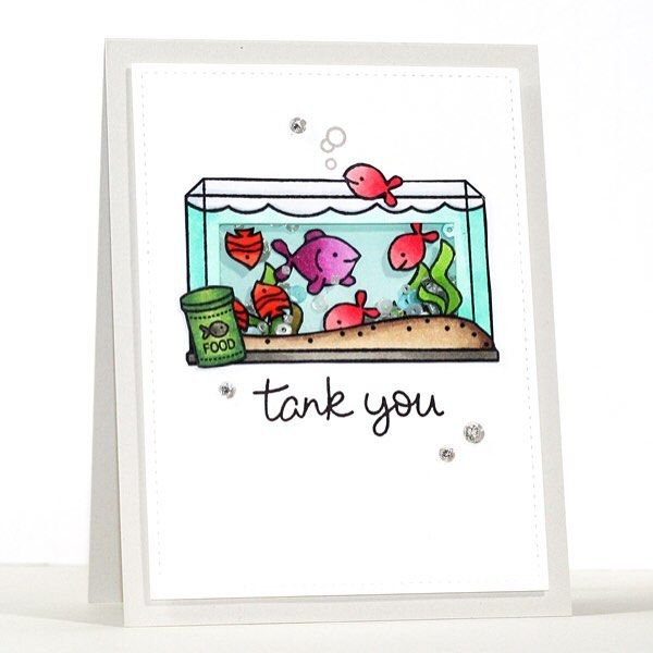 Lawn Fawn Fintastic Friends; shaker card; fish tank; thank you; tank you; punny; adorable; thank you FAVE