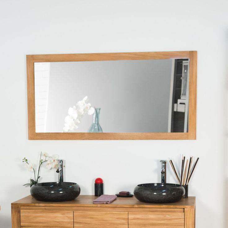 Cet élégant miroir en teck massif sublimera votre salle de bain.  N'hésitez-pas à l'associé au bandeau lumineux qui apportera sobriété et élégance à votre espace bain.