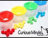 Beschäftigt Tasche - Farbe sortieren Töpfe mit Poms - Kleinkind-Farbe sortieren beschäftigt Tasche mit Trichter Töpfe perfekt für eine ruhige Zeit-Aktivität