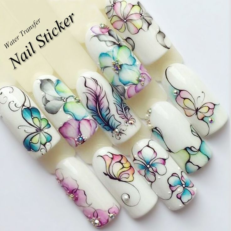 1 Sheet Water Decals Nail Art Stickers  Flowers Cartoon 2017 New Designs Watermark Transfer Red Colorful Manicure SASTZ501-512  Price: 0.34 USD