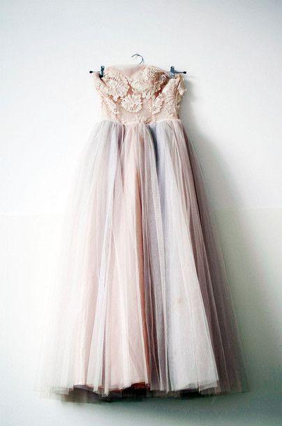dress wedding pastel pale roses romantic light pink prom prom dress fluffy flawless chiffon pale grunge hipster wedding