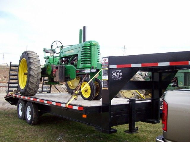 Tractor Pulling Trailer : We purchased a gooseneck trailer to haul our john deere