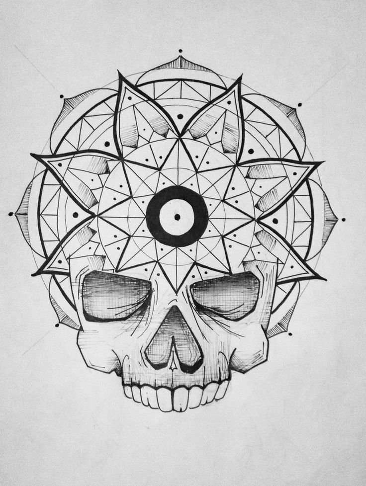 Mandala skull sketch drawing | by BASET47