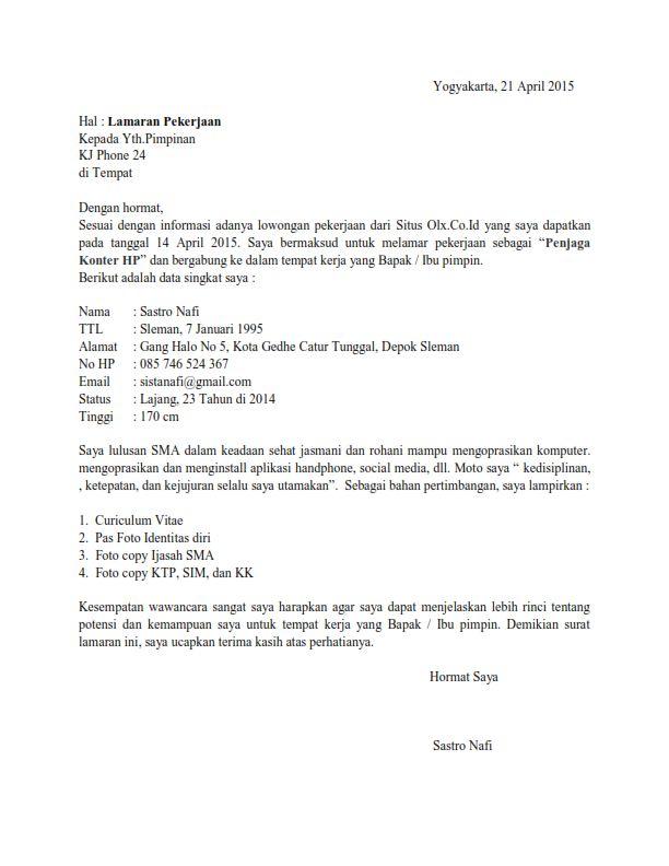 Contoh Surat Lamaran Kerja Sebagai Penjaga Konter Contoh Lamaran