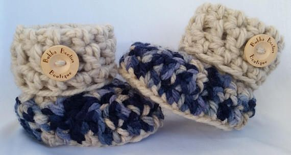 Handcrafted cuffed blue and beige Baby Booties with