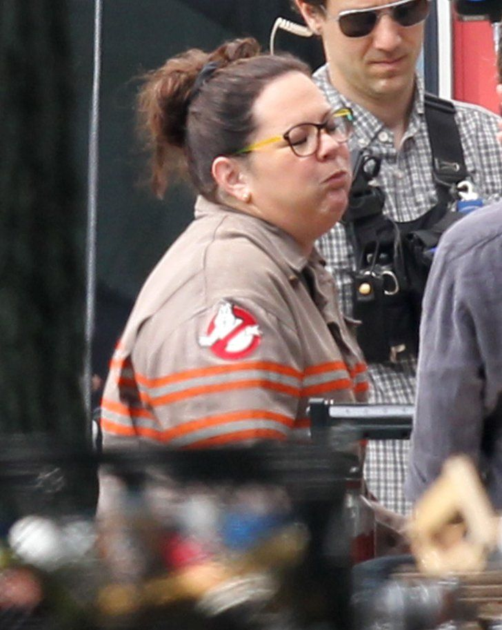 Pin for Later: See Melissa McCarthy Decked Out in the Ghostbusters Uniform on the Set!  Loving the shoulder homage.