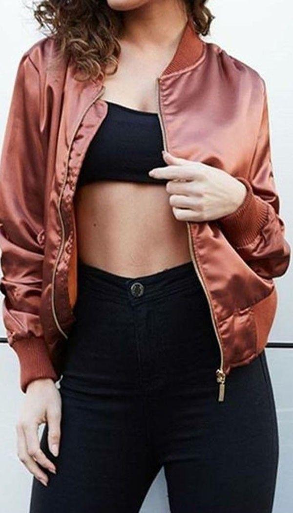 Satin Bomber Jacket In Bronze | OMG Fashion
