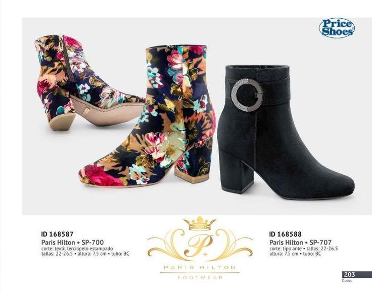 Botas de Moda Paris Hilton para Damas, catalogo priice shoes. Botas Paris Hilton textil aterciopelado estampado. #Botas #ParisHilton