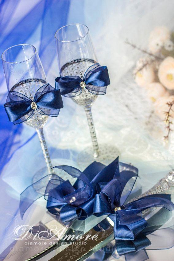 wedding gift ideas royal blue & silver cake server by DiAmoreDS