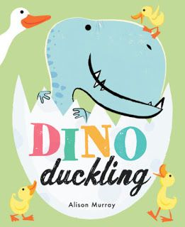 Hans Christian Andersen's The Ugly Duckling was written and published 174 years ago.  Dino Duckling (Orchard Books, October 2017, UK, Little, Brown And Company, January 9, 2018, US) written and illustrated by Alison Murray is a charming, original story based on this classic.  In this tale, from the beginning, this odd child out is nurtured.  This is how a heart is made whole.