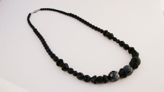 #Vintage Black Faceted Beaded #Necklace by TreasuresOnBroadway, $15.00