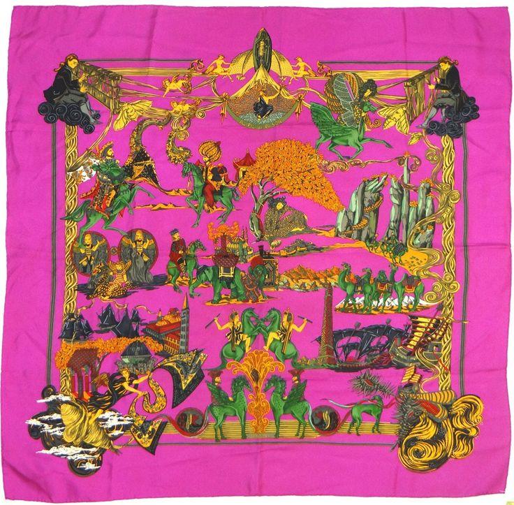 Hermes Paris Au Fil de la Soie 90cm Silk Scarf Carre by Annie Faivre by Annie Faivre 1995