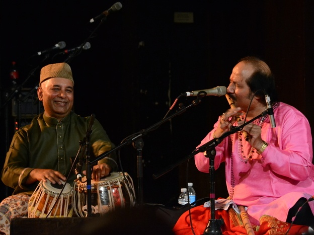Another Reason To Skip Sleep: Indian Classical Music - Tabla player and concert organizer Samir Chatterjee plays alongside flutist Ronu Majumdar at Chhandayan's annual all-night concert in New York City in May.