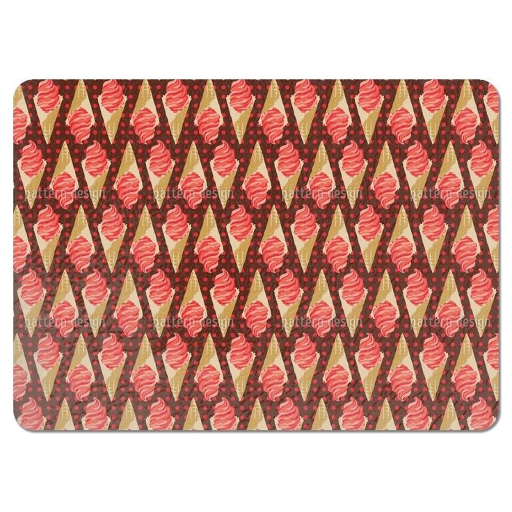 Uneekee Crazy About Strawberry Ice Cream Placemats (Set of 4) (Crazy About Strawberry Ice Cream Placemat), Multi (Polyester, Kids)