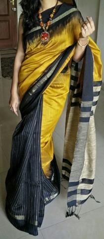 Mustard yellow matka saree with zari border