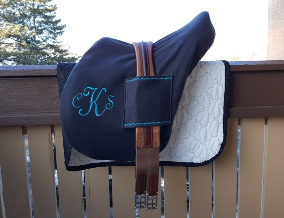 The same, great English Saddle Cover you love, but now with Handy Girth Sleeves!   Stop dropping your girth on your way to the tack room or car